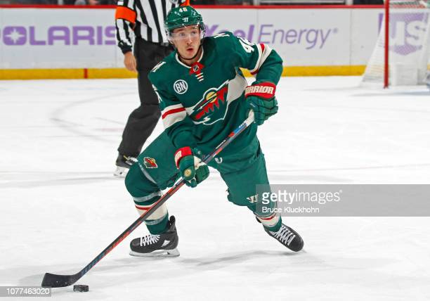 Jared Spurgeon of the Minnesota Wild plays the puck during a game with the Arizona Coyotes at Xcel Energy Center on November 27 2018 in St Paul...