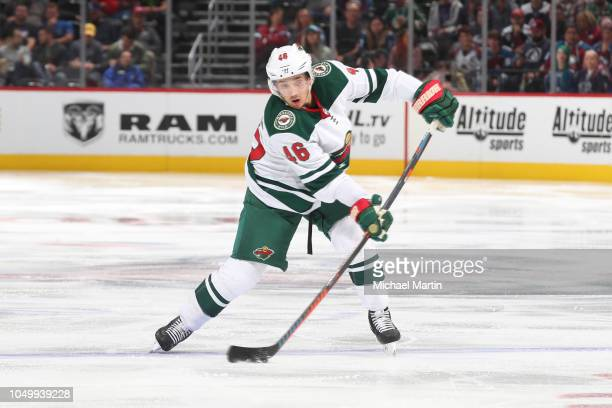 Jared Spurgeon of the Minnesota Wild shoots against the Colorado Avalanche at the Pepsi Center on October 4 2018 in Denver Colorado The Avalanche...