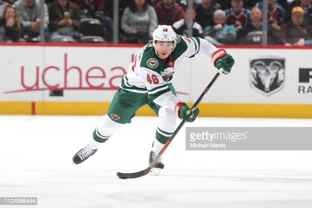 Jared Spurgeon of the Minnesota Wild skates against the Colorado Avalanche at the Pepsi Center on January 23 2019 in Denver Colorado The Wild...