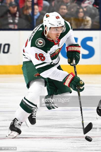 Jared Spurgeon of the Minnesota Wild skates against the Columbus Blue Jackets on January 30 2018 at Nationwide Arena in Columbus Ohio