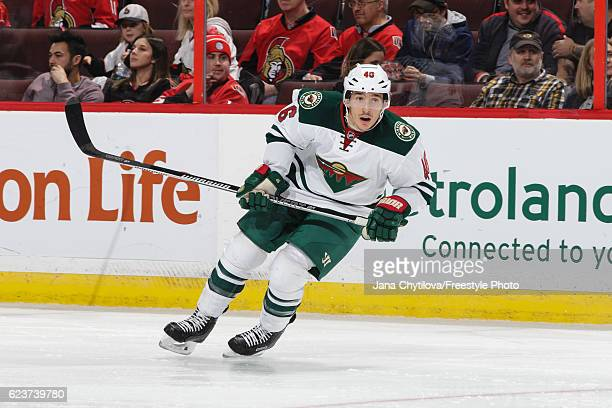 Jared Spurgeon of the Minnesota Wild skates against the Ottawa Senators at Canadian Tire Centre on November 13 2016 in Ottawa Ontario Canada