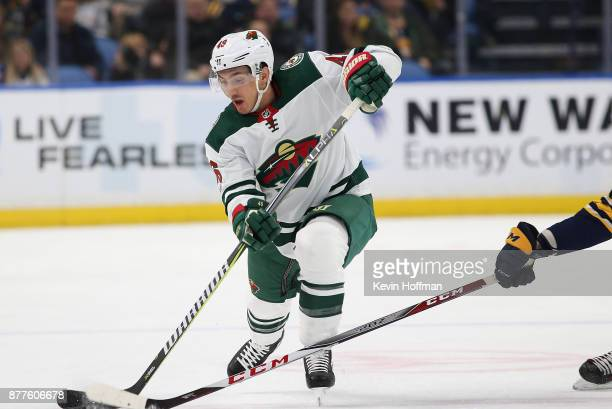 Jared Spurgeon of the Minnesota Wild takes a shot during the first period against the Buffalo Sabres at the KeyBank Center on November 22 2017 in...