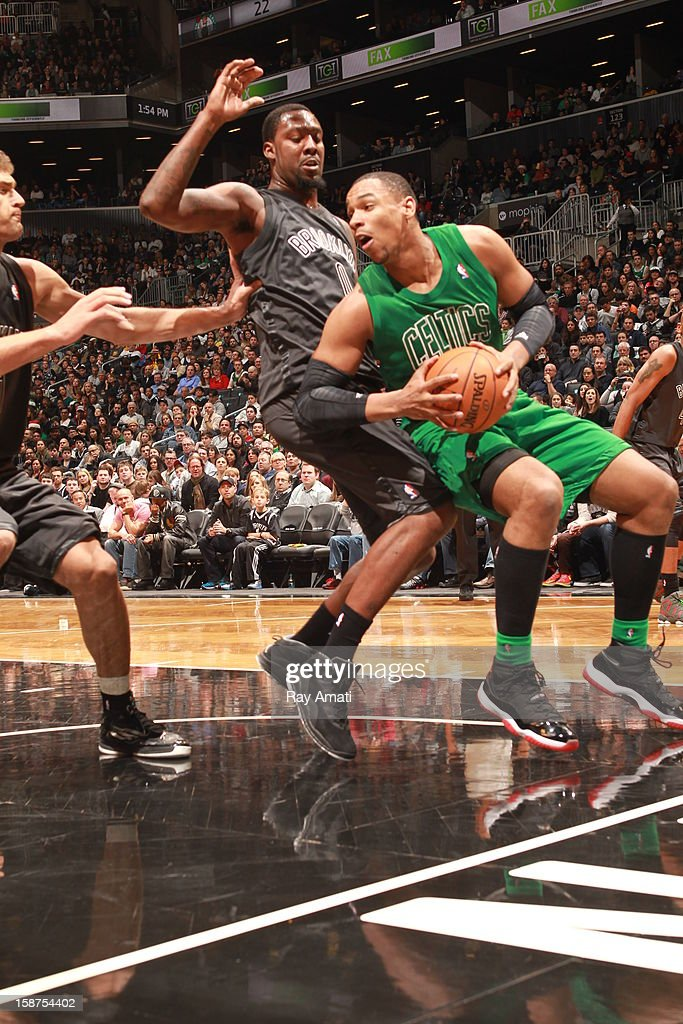 Jared Sullinger #7 of the Boston Celtics drives against the Brooklyn Nets on December 25, 2012 at the Barclays Center in Brooklyn, New York.