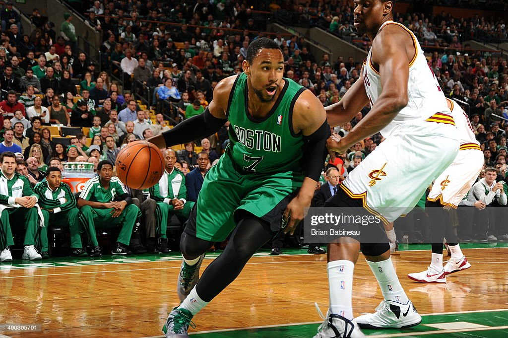 Jared Sullinger #7 of the Boston Celtics drives against the Cleveland Cavaliers on November 29, 2013 at the TD Garden in Boston, Massachusetts.