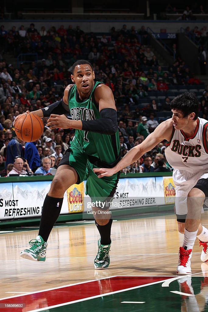 Jared Sullinger #7 of the Boston Celtics drives to the basket against Ersan Ilyasova #7 of the Milwaukee Bucks on December 1, 2012 at the BMO Harris Bradley Center in Milwaukee, Wisconsin.