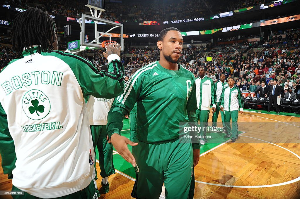 Jared Sullinger #7 of the Boston Celtics is introduced before the game against the Cleveland Cavaliers on November 29, 2013 at the TD Garden in Boston, Massachusetts.