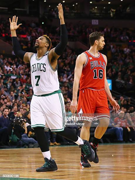 Jared Sullinger of the Boston Celtics reacts after scoring against the Chicago Bulls during the second half at TD Garden on December 9 2015 in Boston...