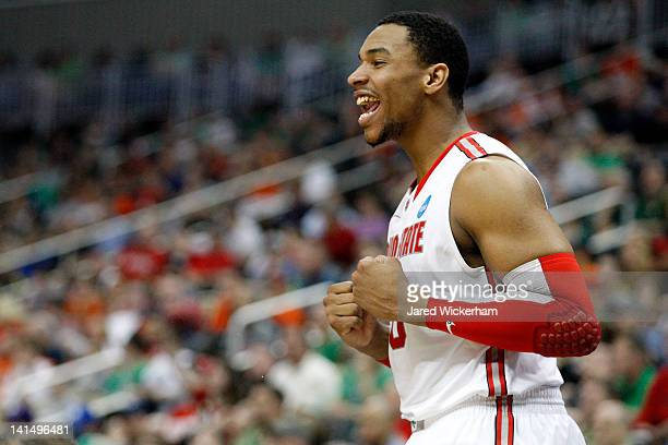 Jared Sullinger of the Ohio State Buckeyes celebrates on the bench late in the first half against the Gonzaga Bulldogs during the third round of the...