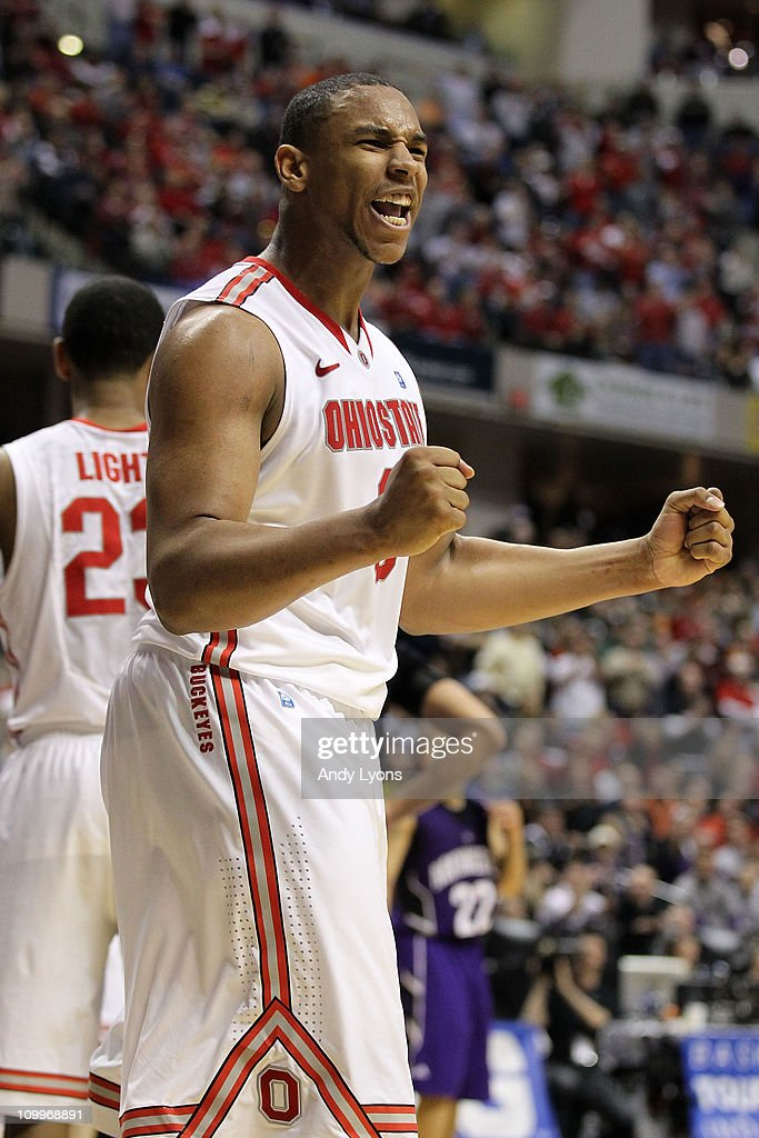 Jared Sullinger #0 of the Ohio State Buckeyes reacts in the second half against the Northwestern Wildcats during the quarterfinals of the 2011 Big Ten Men's Basketball Tournament at Conseco Fieldhouse on March 11, 2011 in Indianapolis, Indiana. Ohio State won 67-61 in overtime.