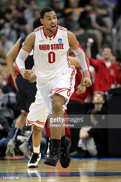 Jared Sullinger of the Ohio State Buckeyes reacts late in the second half against the Gonzaga Bulldogs during the third round of the 2012 NCAA Men's...