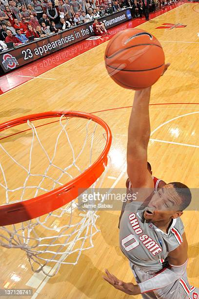 Jared Sullinger of the Ohio State Buckeyes slams home two of his 16 points against the Indiana Hoosiers on January 15 2012 at Value City Arena in...