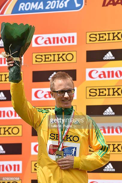 Jared Tallent celebrates his second place during award ceremony of the 50KM Race Walk at IAAF Race Walking Team Campionship Rome 2016 on May 7 2016...