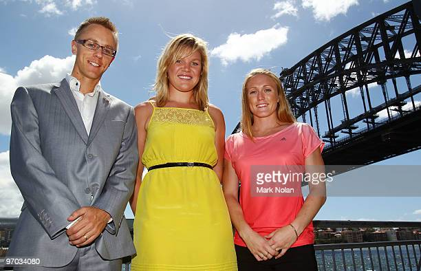 Jared Tallent Dani Samuels and Sally McLellan of the Australian Flame pose for portraits during the John Landy Lunch and Media conference at Waters...