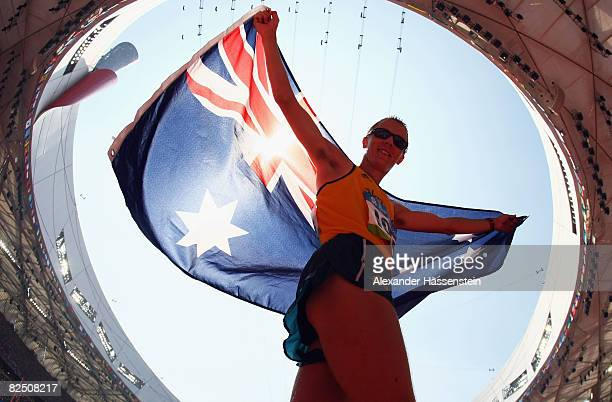 Jared Tallent of Australia celebrates his silver medal in the Men's 50km Walk at the National Stadium on Day 14 of the Beijing 2008 Olympic Games on...