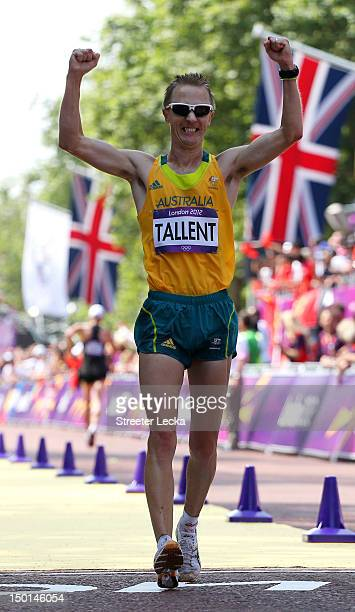 Jared Tallent of Australia crosses the line to win silver during the Men's 50km Walk on Day 15 of the London 2012 Olympic Games at The Mall on August...