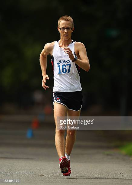 Jared Tallent of Victoria competes in the Open Mens 50km Race Walk during the Australian 50km Road Walking Championships on December 11 2011 in...
