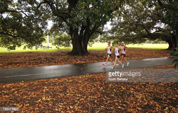 Jared Tallent of Victoria leads the pack as he competes in the Open Mens 50km Race Walk during the Australian 50km Road Walking Championships on...