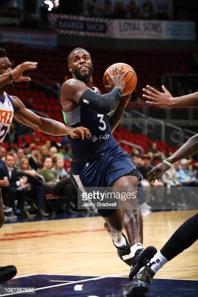 Jared Terrell of the Iowa Wolves drives against the Northern Arizona Suns in an NBA GLeague game on December 1 2018 at the Wells Fargo Arena in Des...