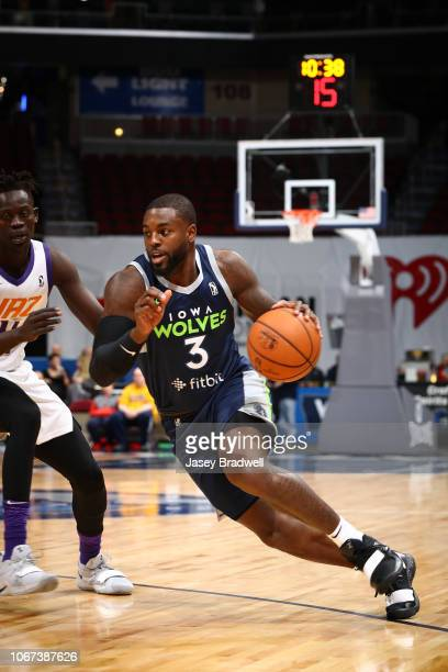 Jared Terrell of the Iowa Wolves drives around the Northern Arizona Suns in an NBA GLeague game on December 1 2018 at the Wells Fargo Arena in Des...