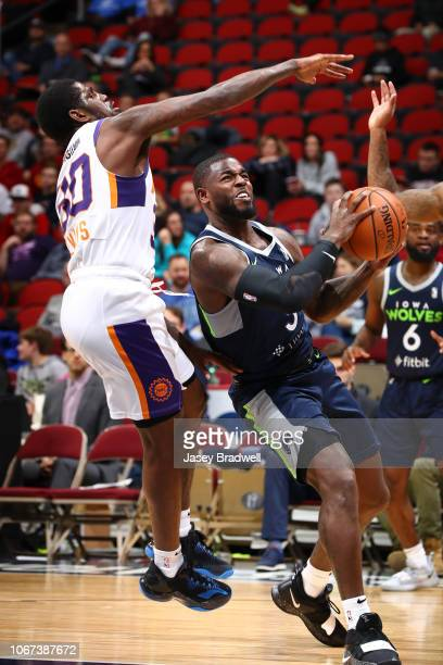 Jared Terrell of the Iowa Wolves handles the ball against Jawun Evans of the Northern Arizona Suns in an NBA GLeague game on December 1 2018 at the...
