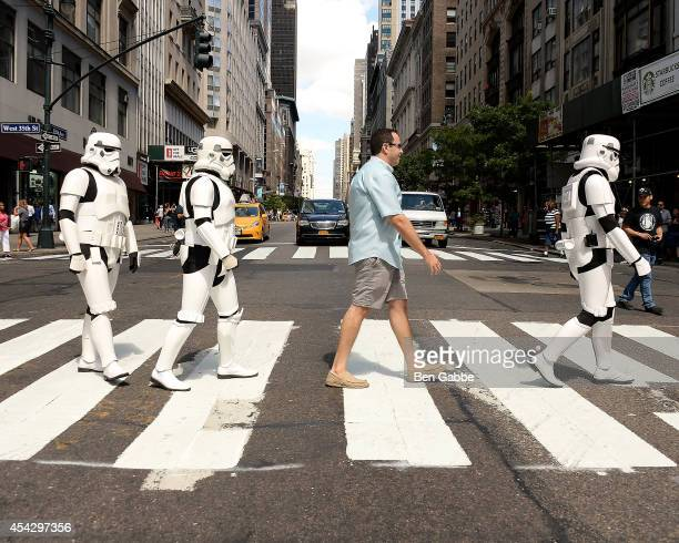 Jared 'The SUBWAY Guy' Fogle poses with Stormtroopers at the Star Wars Rebels Promotion Kick-Off at Subway Restaurant on August 28, 2014 in New York...