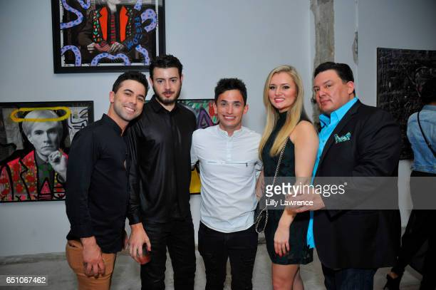 Jared Valdez Max Sharp Donnie Galarza Nicole Miller and George Avants attend Karen Bystedt's 'Kings And Queens' exhibition on March 9 2017 in Los...