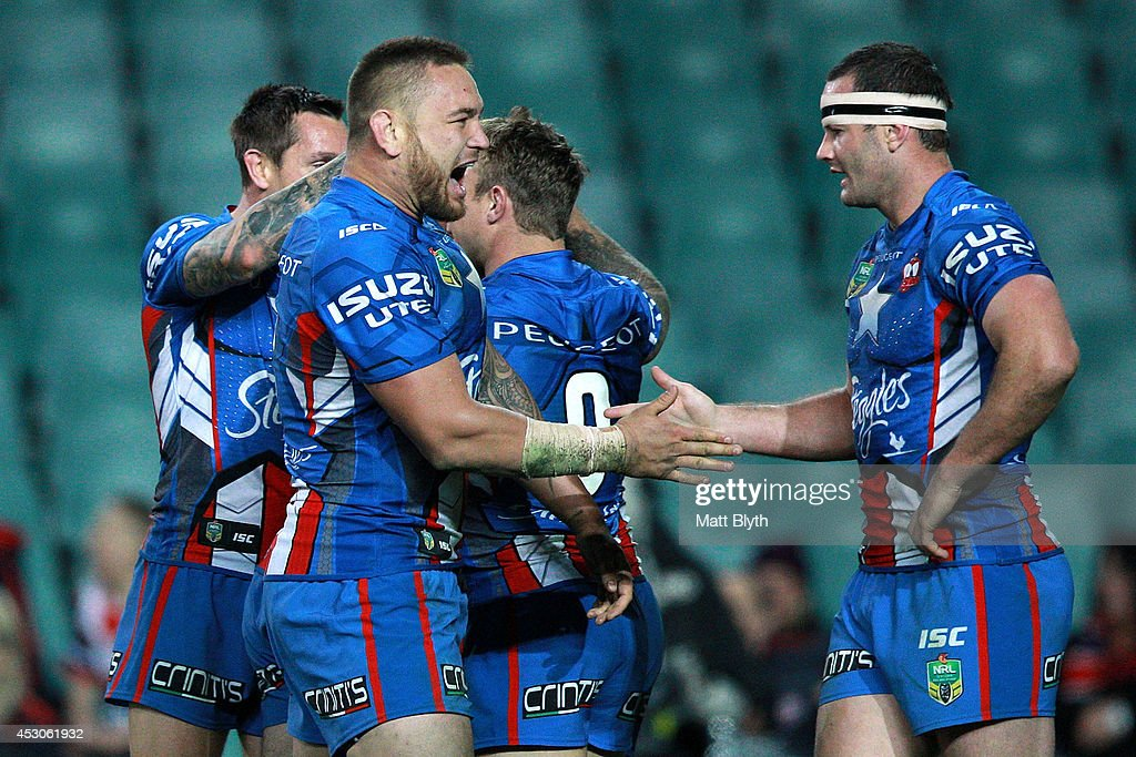 Jared Waerea-Hargreaves and Boyd Cordner of the Roosters celebrate a try during the round 21 NRL match between the Sydney Roosters and the St George Illawarra Dragons at Allianz Stadium on August 2, 2014 in Sydney, Australia.