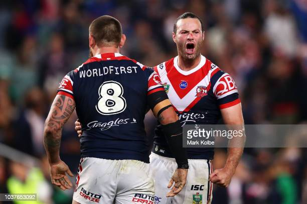 Jared WaereaHargreaves and Boyd Cordner of the Roosters celebrate victory during the NRL Preliminary Final match between the Sydney Roosters and the...