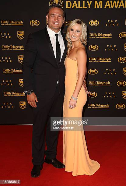 Jared WaereaHargreaves and Chelsea Cormac arrive ahead of the 2013 Dally M Awards at Star City on October 1 2013 in Sydney Australia