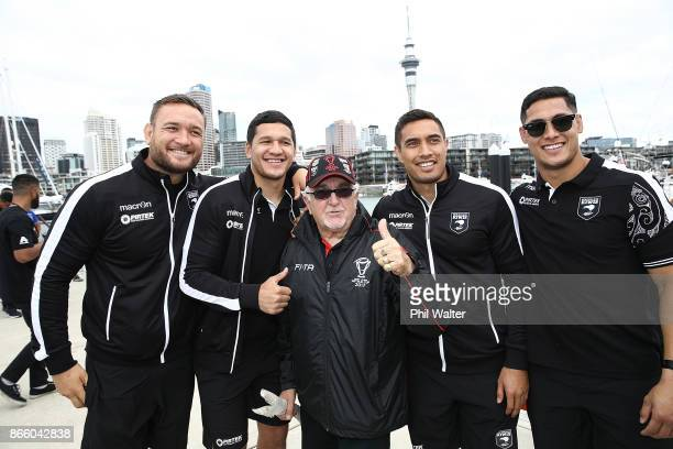 Jared WaereaHargreaves Dallin WateneZelezniak Dean Whare and Roger Tuivasa Sheck pose with Sir Peter Leitch during their Rugby League World Cup 2017...