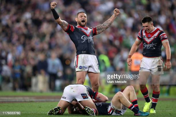 Jared WaereaHargreaves of the Roosters celebrates winning the 2019 NRL Grand Final match between the Canberra Raiders and the Sydney Roosters at ANZ...