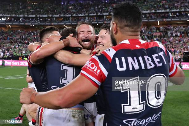 Jared Waerea-Hargreaves of the Roosters celebrates with team mates after winning the 2019 NRL Grand Final match between the Canberra Raiders and the...