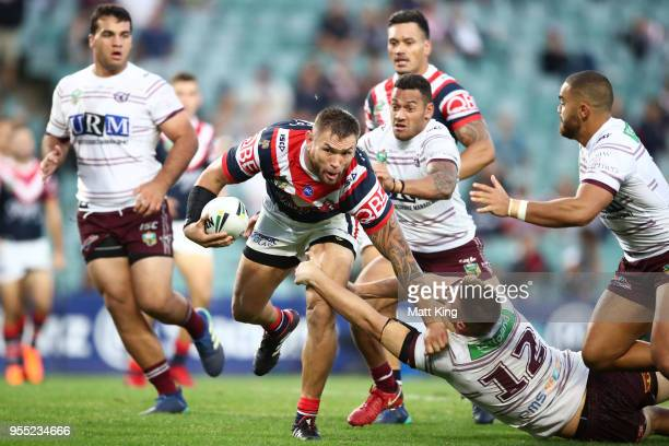 Jared WaereaHargreaves of the Roosters charges towards the line to score a try during the round nine NRL match between the Sydney Roosters and the...