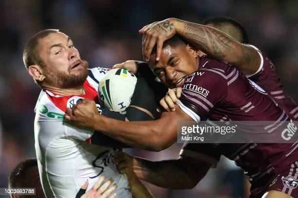Trent Hodkinson of the Sea Eagles looks dejected after a Roosters try during the round 19 NRL match between the Manly Sea Eagles and the Sydney...