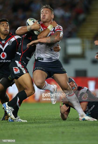 Jared WaereaHargreaves of the Roosters is tackled during the round two NRL match between the New Zealand Warriors and the Sydney Roosters at Eden...