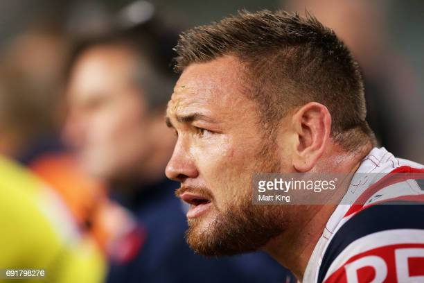Jared WaereaHargreaves of the Roosters looks on from the bench during the round 13 NRL match between the Sydney Roosters and the Brisbane Broncos at...