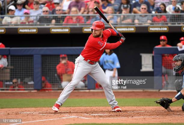 Jared Walsh of the Los Angeles Angels gets ready in the batters box during a spring training game against the Seattle Mariners at Peoria Stadium on...