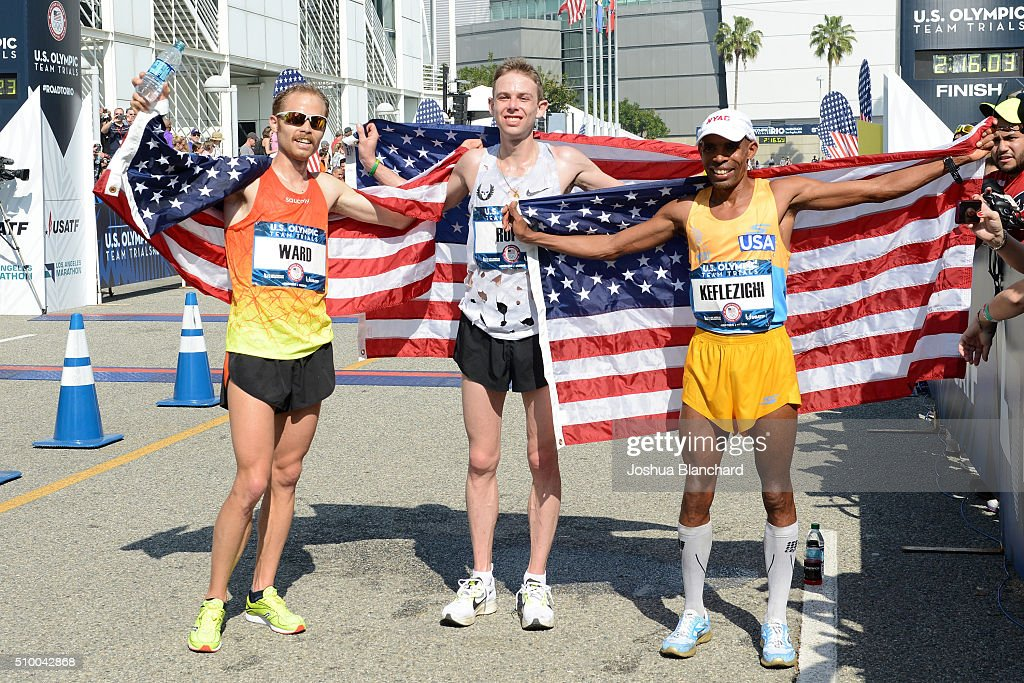 Jared Ward, Galen Rupp and Meb Keflezighi after qualifing for the Olympic Team at the U.S. Olympic Team Trials Mens Marathon on February 13, 2016 in Los Angeles, California.