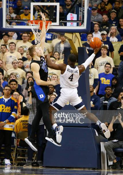 Jared WilsonFrame of the Pittsburgh Panthers makes a shot against Jack White of the Duke Blue Devils at Petersen Events Center on January 22 2019 in...