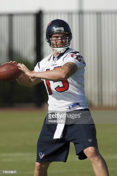 Jared Zabransky of the Houston Texans warms up during OTA camp at the Texans Methodist Training Center on June 6, 2007 in Houston, Texas.