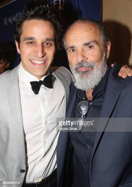 Jared Zirilli and Bruce Sudano pose at the opening night after party for Summer The Donna Summer Musical on Broadway at The New York Marriott Marquis...