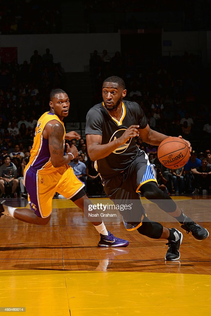 Jarell Eddie #3 of the Golden State Warriors drives to the basket against the Los Angeles Lakers during a preseason game on October 17, 2015 at Valley View Casino Center in San Diego, California.
