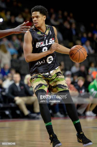 Jarell Eddie of the Windy City Bulls handle the ball against Memphis Hustle on March 17 2018 at the Sears Centre Arena in Hoffman Estates Illinois...