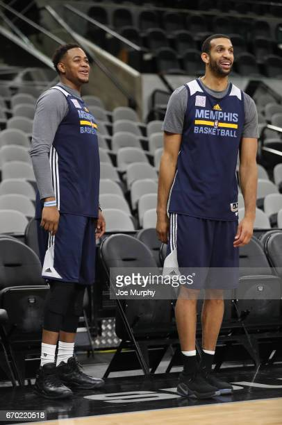 Jarell Martin and Brandan Wright of the Memphis Grizzlies stand on the court during a team practice on April 16 2017 at ATT Center in San Antonio...