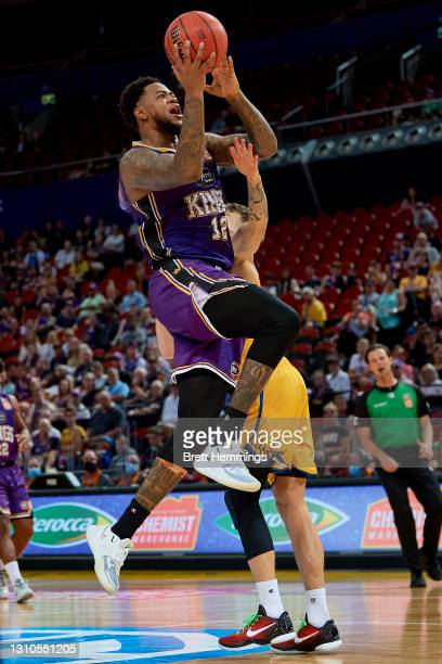Jarell Martin of the Kings lays up the ball during the round 12 NBL match between the Sydney Kings and Brisbane Bullets at Qudos Bank Arena, on April...