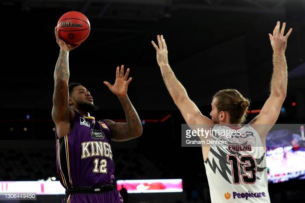 Jarell Martin of the Kings shoots during the NBL Cup match between the Sydney Kings and the Illawarra Hawks at John Cain Arena on March 11 in...
