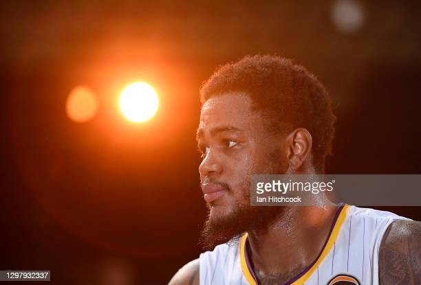 Jarell Martin of the Kings speaks to the media after winning the round two NBL match between the Cairns Taipans and the Sydney Kings at Cairns Pop Up...