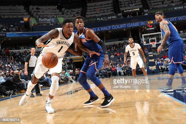 Jarell Martin of the Memphis Grizzlies handles the ball against Frank Ntilikina of the New York Knicks on January 17 2018 at FedExForum in Memphis...