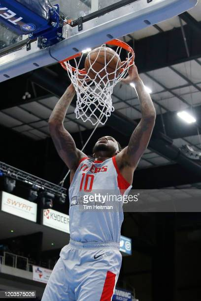 Jarell Martin of the Rio Grande Valley Vipers dunks against Antonius Cleveland of the Texas Legends during the first quarter on February 26, 2020 at...