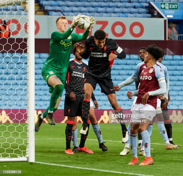 Jarell Quansah of Liverpool and Filip Marschall of Aston Villa in action during the FA Youth Cup Final between Aston Villa U18 and Liverpool U18, at...